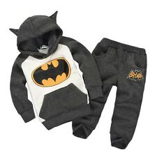 Baby Kids Girls Boys Batman Tops Hoodie Sweatshirt Suit Outfits Set Costume 2-7Y