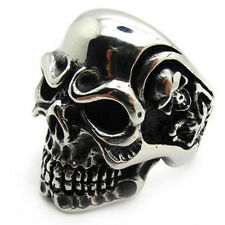Men's PUNK gothic biker skeleton silver stainless steel cool skull party Ring CN