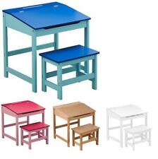 KIDS CHILDRENS WOODEN DESK AND CHAIR SCHOOL STUDY RETRO LIFTING TOP CHILD SET