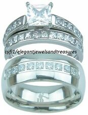 3Pc His Titanium Hers Stainless Steel Cz Engagement Wedding Band Ring Set