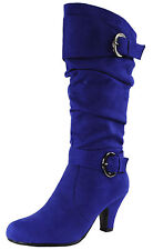 New women's shoes high shaft knee high boot suede like side zipper royal blue