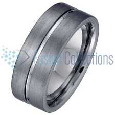 Geraud Men's Tungsten Brushed Finish Grooved Flat 8mm Wedding Band Sz 7 - 14