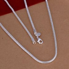 Men's Fashion Jewelry 925 Sterling Silver Chain Snake Necklace 3mm 16- 24'' SS51
