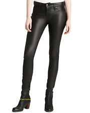 New Original Button Fit Soft Lambskin Leather Jeans Pants For Women W- 02