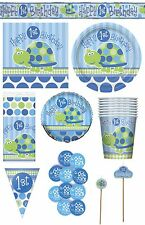 FIRST (1st) BIRTHDAY (Boy) TURTLE PARTY Tableware Range (Balloons & Decorations)