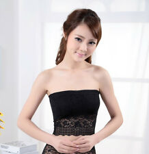 Women Ladies Strapless lace Boob Tube Top Bandeau Bra REMOVEABLE PAD WDN1897