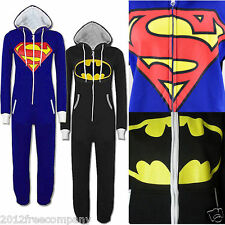 Mens Womens Ladies Onesie Superman Batman Supergirl Batgirl Zip Front Jumpsuit