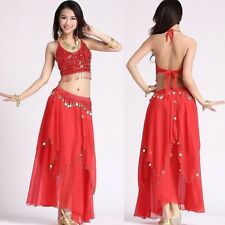 Belly Dance Dancing Costume 5 Flowers Bra Top and Golden Coins Skirt 11 Colors