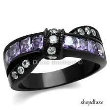 1.75 CT AMETHYST & CLEAR CZ BLACK STAINLESS STEEL FASHION RING WOMEN'S SZ 5-10