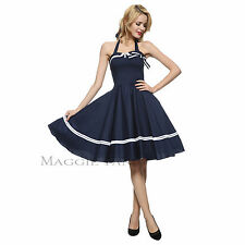 Maggie Tang 50s 60s Nautical Sailor VTG Rockabilly Pinup Party Swing Dress S 515