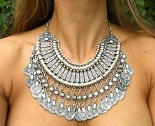 Belly Dance Ethnic Festival Jewelry Tassel Boho Statement Turkish Coin Necklace