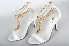 New Ladies Womens Stiletto High Heel Dress Shoe T-Bar Gold Chain White Aus sell