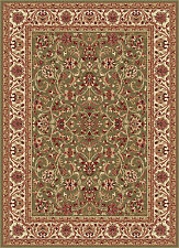 Green Traditional Oriental Bordered Area Rug Vines Leaves Multi Persian Carpet