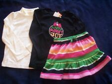 NWT Girl's Gymboree Cheery All The Way snowflake long sleeve shirts skirt ~ 4 5