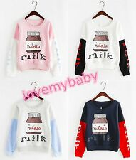 Cute Womens Milk Bottle Lolita Long Sleeves Loose Kawaii T-Shirt Hoodie Sweats