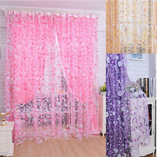 Print Floral Voile Door Curtain Window Room Curtain Divider Scarf Lovely