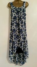 YOURS Plus Size 16-28 Chiffon Floral Print Blue White Dipped Hem Midi Maxi Dress