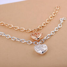 New Women 925 Sterling Silver Plated Charm Heart Crystal Chain Bracelet Bangle