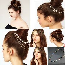 Elastic Retro Women Lady Girl Metal Rhinestone Head Chain Jewelry Headband