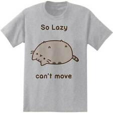 Pusheen Cat So Lazy Can't Move Facebook Licensed Adult T-Shirt - Grey