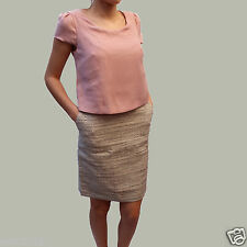 NEXT 2 IN 1 SMART TAILORED DRESS COLLAR TOP & SILVER GREY TWEED SKIRT FORMAL