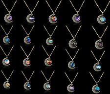New Ladies Galaxy Universe Crescent Moon Resin Cabochon Charms Chain Necklace