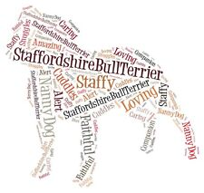 Staffordshire Bull Terrier Personalised A4 Word Art Print, Staffy, Unique Gift