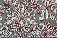 Unotrim White Raschel Lace Fabric Burgundy Cording Beaded Floral Textile by Yard
