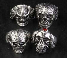 4PCS Rock 316Lstainless steel affectionate male flower ring skeleton knight NG10
