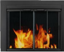 Fireplace Glass Doors Pleasant Hearth Ascot Black Large Bifold with Clear Glass