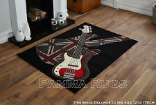 NEW LARGE MEDIUM MODERN BLACK RED BOYS ROCK GUITAR CHEAP AND BEST COST RUGS