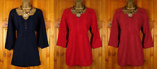 NEW PER UNA LADIES 3/4 SLEEVE BLUE RED CORAL PINK COTTON BUTTON TUNIC TOP UK6-24