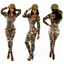 Women's Sexy Overalls Stretch Army Green Zipper Rompers Long Pants Jumpsuits