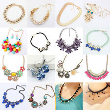 Fashion Jewelry Crystal Chunky Statement Bib Chain Pendant Choker Necklace