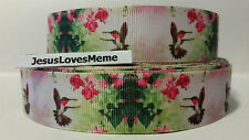 Grosgrain Ribbon, Beautiful Humming Birds with Pink Flowers, Nature Birds, 1""