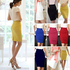 Hot OL Lady High Waist Dress Fit Knee Straight Stretchy Business Pencil Skirt