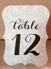 Wedding Table Numbers Cards with Damask Background - Any Color