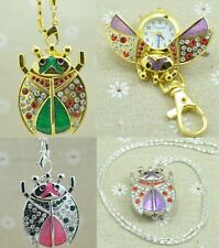 Lovely Women Girl Beetles ladybug kids necklace Pocket Watches with Chain