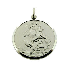 925 STERLING SILVER ROUND ST CHRISTOPHER PENDANT NECKLACE CHAIN & YOUR ENGRAVING