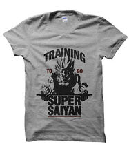 Training to go Super Saiyan Gym exercise Dragonball Z inspired t-shirt