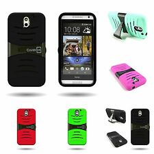Hybrid Hard + Soft Dual Layer Kickstand Protective Tough Case for HTC Desire 610