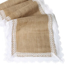 "14""x108"" Shabby Chic Burlap Lace Hessian Table Runner Jute Wedding Party Decor"