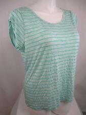 Lane Bryant Plus Size Scoop Neck Short Sl Striped Rayon/Poly Summer Weight Top