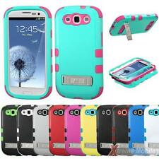 Protective TUFF Hybrid Phone Case Cover For SAMSUNG Galaxy S 3/III w/Stand