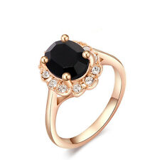 Size5~9 18K Rose Gold Filled Jewelry Black Sapphire AUT Crystal Women Rings Gift