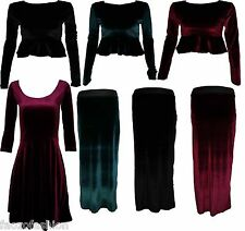 Womens Ladies Velvet Velour 3/4 Sleeve Flared Skater Dress Crop Top Skirt 8 - 14