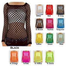 Brand New Sexy Long Sleeve Fishnet Shirt Women Tops Go Go Dance Club Wear One Si