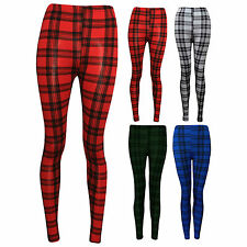 Womens Ladies Check Tartan Print Ankle Length Leggings Trousers Size 8-14 SM ML