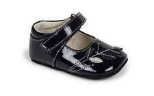 See Kai Run Maya Black Patent Baby Girls Mary Jane Shoes With Leaf Accents