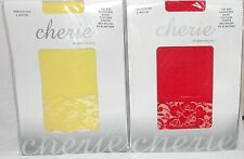 Capri 3/4 Length Lace Footless Tights in Red or Yellow One Size